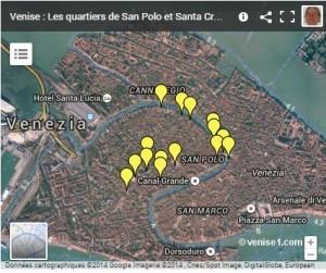 Carte du Rialto et des quartiers San Polo et Santa Croce à Venise