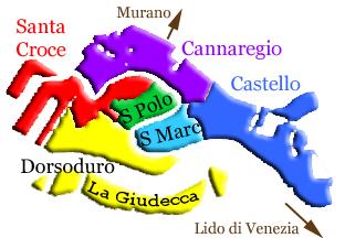 Carte des quartiers de Venise