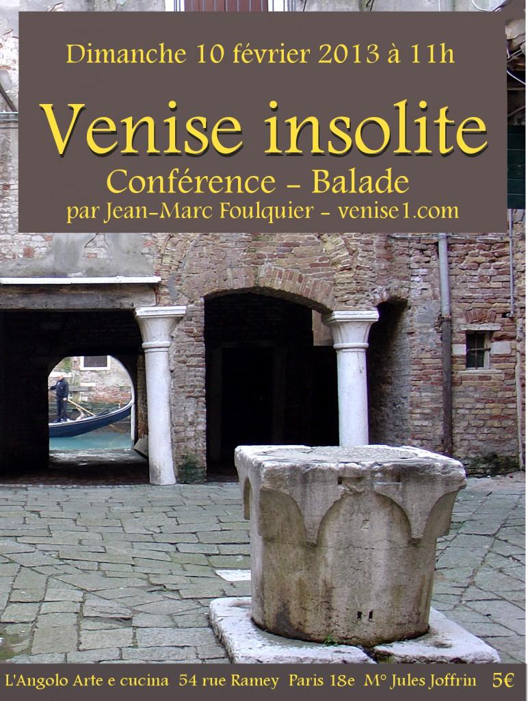 Conférence Venise insolite à Paris, dimanche 10 février 2013 à 11h
