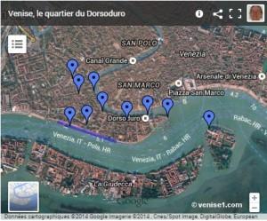Carte du Dorsoduro à Venise