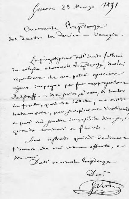 Découverte d'une lettre manuscrtie de Verdi à la Fenice de Venise