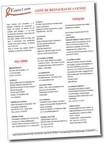 Liste restaurants Venise