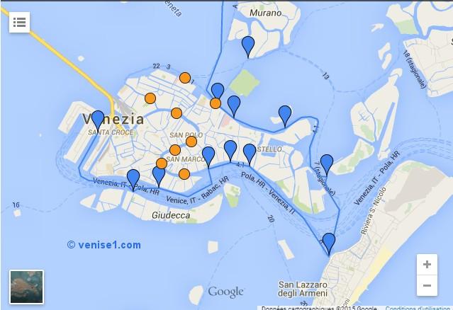 carte des arrêts ligne blu Alilaguna plan des arrêts Alilaguna