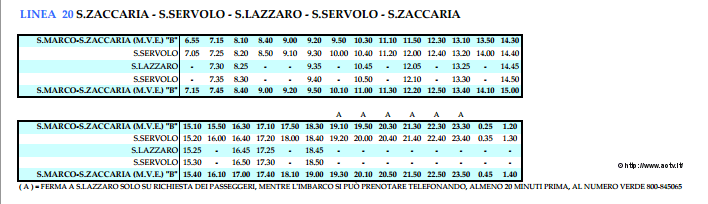 Vaporetto ligne 20 San Servolo San Lazzaro San Zaccaria Horaires du vaporetto ligne 20 du vaporetto