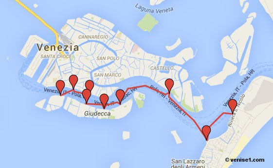 Tous les arrêts de la ligne 8 du vaporetto à Venise et leur localisation sur un plan