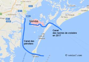 Canal des pétroliers de la lagune vénitienne