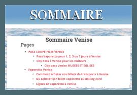 Sommaire Venise1.com tous les sujets