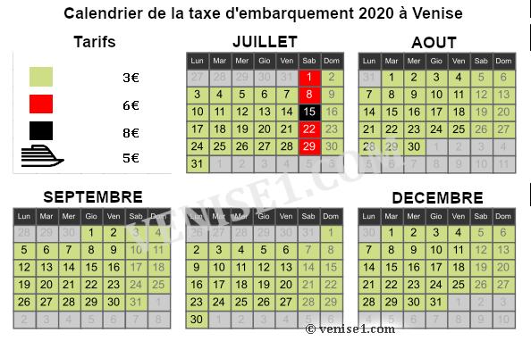 calendrier taxe de débarquement 2020 à Venise