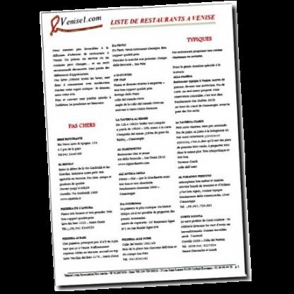 Liste de restaurants à Venise par venise1.com Liste de restaurants à Venise