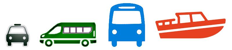 Transfert aéroport bus, taxi, bateau-taxi, minibus