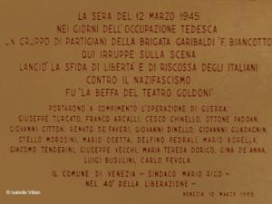 Résistance vénitienne au Théâtre Goldoni le 12 mars 1945